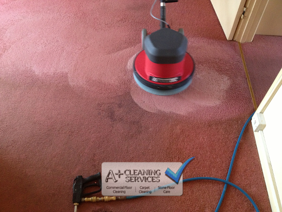 Carpet Cleaning Stroud - Red Lounge (Before) by A+ Cleaning Services